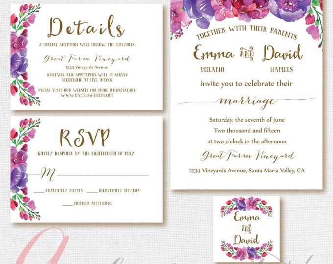 Floral Wedding Invitation, Wedding RSVP card, Wedding printable set, Wedding Personalized, violet, wisteria. Printable wedding invitation