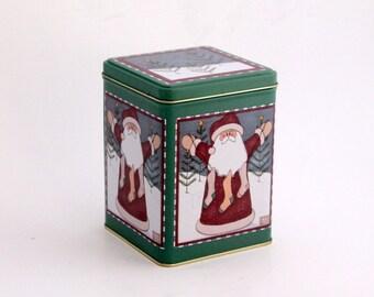 Vintage  Christmas Tin, Santa  Metal Canister,  Holiday Tin Box, Santa Claus, Snowy Christmas Tin  Storage Canister