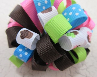 Happy Birthday Cupcake Loopy Hair Bow, 3 in Loopy Bow, Puff Bow