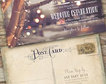Personalised Rustic Photographic Christmas Lights Vintage Postcard Wedding Invitations