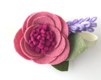 Felt flower headband - pink - felt flower - Ava