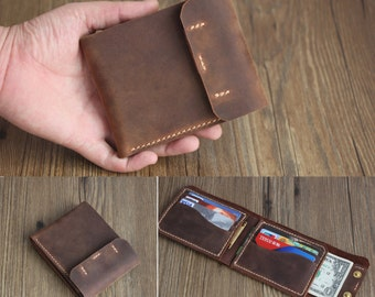 MUST SEE! Men's Genuine Leather Wallet, Three Fold Wallets, 8 Card Slots, Large Cash Position, Gift Idea, Original Rocky Leather Design®