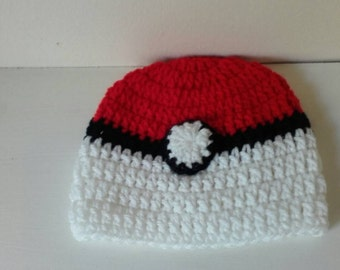 Crochet pokeball hat, baby pokeball hat, newborn pokeball hat, pokeball hat, young teen pokeball hat, teen pokeball hat, ready to ship