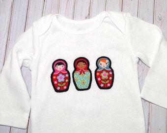 Matryoshka Bodysuit, Baby Shower Gift, babushka baby outfit, baby girl outfit, infant clothes, babushka, Matryoshka Doll