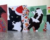 Pack of four christmas cards British Shorthair Tuxedo Tabby greeting cards blank inside
