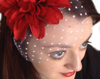 Red mini veil, Spiked headpiece, rockabilly hairpiece, Red flower veil, Rock n roll wedding, red fascinator, burlesque hairband, Floral veil