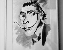 Salvador Dali Caricature A4, Digital File .jpg, Quirky, Cartoon art, Moustache, Indian Ink, following eyes!, Original Art Download,