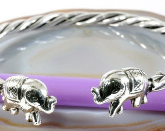 Elephants bangle in 925 sterling silver  --  4979