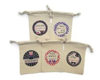 Magic Party Favors Muslin 4x6 Goody Bags Set of 10 Girls Magician Tricks Birthday Custom#s Rabbit in Hat Abracadabra