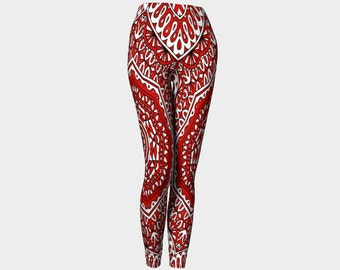 RINA   Capris Yoga Pants-Red-White-Abstract Art-Art-Clothes-Women-Pants-Clothing-Made In Canada-Hand Sewn- XS-S-M-L-XL