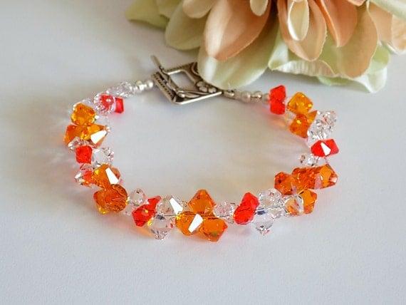 Swarovski Crystal Bracelet Tangerine Crystal Bracelet Orange Bracelet Bead Bracelet Women  Beaded Jewelry Swarovski Bracelet