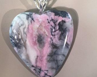 Rhodonite  Heart with Sterling Silver Viking Weave Chain