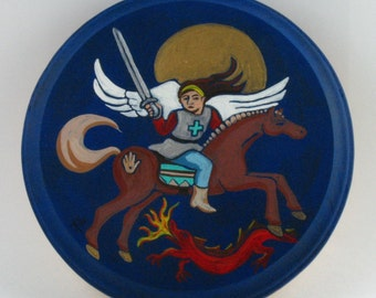 St. Michael, the Archangel, Retablo, San Miguel, Original Painting on Wood by Karlene Voepel.  Sold individually.