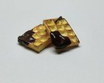 Chocolate belgian waffle earrings - Couleur-lavande polymer clay jewelry