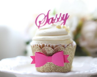 Glittered Cupcake Wrapper or Name or Number