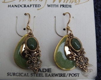 Jade Earrings Set, Dancing Winds Brand New in Package with Accents Green Stones Nice Southwestern Style Ladies Jewelry Free Gift Box