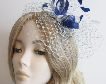 ROYAL BLUE and SILVER Fascinator, With Metallic silver net, Crystal bridge, on a silver headband