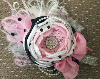 Channel Inspired Headband. Baby headband . Pink and Black headband