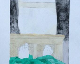 Lazy Sunday - bed day art print - feet up-