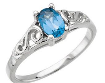 925 Sterling Silver Imitation BLUE ZIRCON Youth December Birthstone Ring USA 5