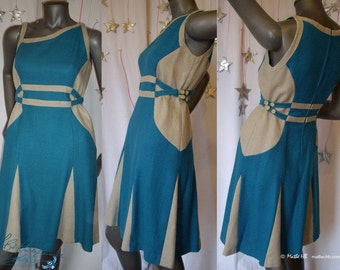 dress, blue turquoise, silk and naturel linen, evening ceremony
