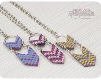Pendant Chevron Bargello designs of polymer clay. Minimalist necklace unique design.