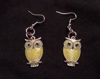 Yellow Owl Earrings, Silver Owl Earrings, Owl Jewelry, Handmade Earrings