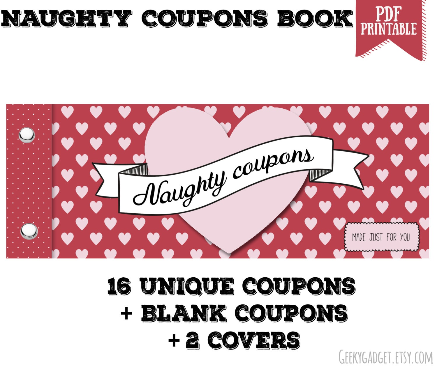 naughty coupon book 16 printable coupons for boyfriend 🔎zoom