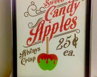 Sweet Candy Apples Decor , print , laminated , House , Home , Office , Wall Art , Candy Apples , Old Fashioned