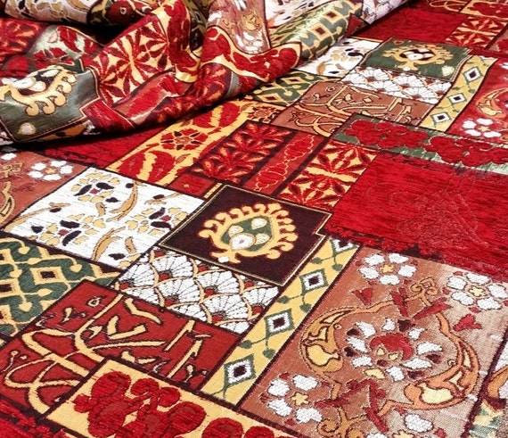 chenille upholstery fabric patchwork design by anatoliafabric