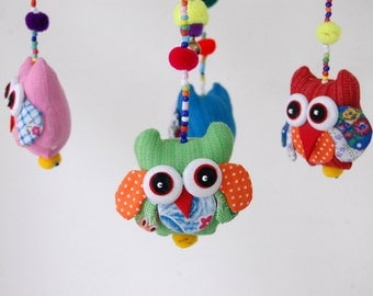 Sleepy Owl Baby Mobile with Blue Frame