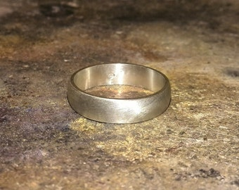 Half Round Mens Wedding Band, Sterling Silver - 6 mm Wedding band ring -  Recycled Silver