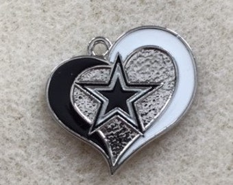 Dallas Cowboys Heart Star Charm