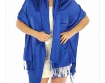 Royal blue wedding shawl - royal blue wedding pashmina - royal blue brida shawl