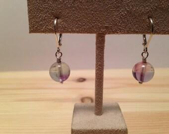 Fluorite Drop Lever Back Earrings