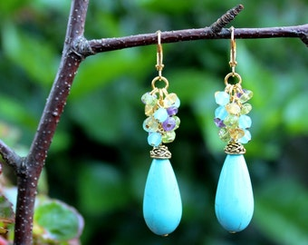 Multi Gemstone Cluster Earrings.Blue Turquoise Stone.Yellow Citrine.Purple Amethyst.Green Peridot.Dangle Earrings.Bridal.Colorful.Handmade.