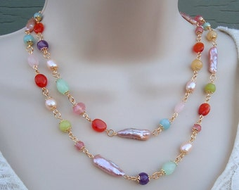 Long Multi Gemstone Necklace.Colorful.Multi Colors.Gold.Lariat.Silver.Statement.Double Strand.Layering.Bridal.Orange.Yellow.Pink. Handmade.