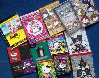 24 x Alternative Hello Kitty Sanrio Gotochi / Japan Exclusive Kawaii Memo Sheets - Gothic, Punk, Rocker, Emo, Creepy, Cool!
