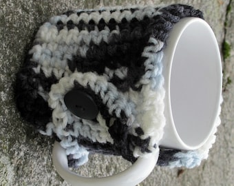 Black and White Crochet Mug Cozy With Button Ready to Ship