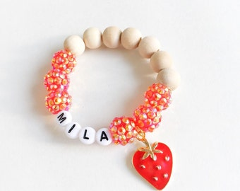 Strawberry Red and Gold Bracelet Fruits