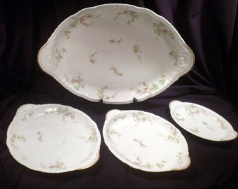 Theodore Haviland Limoges Schleiger 1240 Set of 4 Serving Platters, Antique Porcelain, 1903