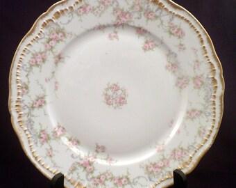 Theodore Haviland Limoges Schleiger 340 Dinner Plate, Pink Roses, 4998