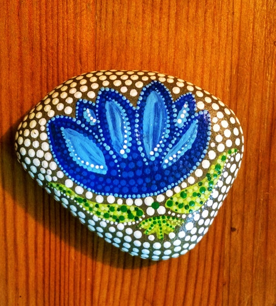 Items Similar To Blue Lotus Painted Rock Colorful Dot Art