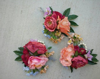 Corsage, Wedding Corsage, Flower Corsage, Succulent Corsage, Rustic Corsage, Silk Flower Corsage, Wedding Flowers, Wedding Package