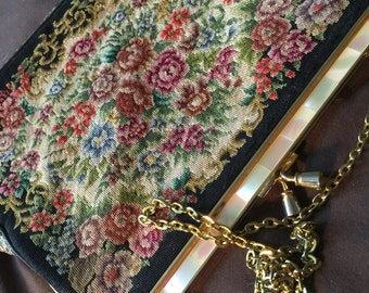 Vintage Tapestry And Mother of Pearl Shoulder Bag Purse