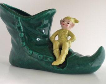 1950's Sweet Mischievous Elf Shoe Planter