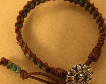 Brown Leather Wrapped Bracelet