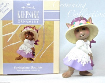 1993 Hallmark Springtime Bonnets Easter Bunny Keepsake Ornament 1st in Series Spring time Easter Hat Sunday Church Best MIB #1 Vintage