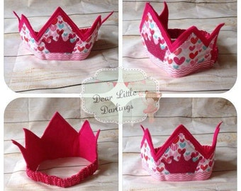 Pink Felt Crown, Fabric Crown, Princess, Queen, Party Crown