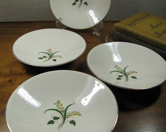 Vintage Berry - Dessert Bowls - Yellow Flowers - Green Leaves - Gold Accent Band - Set of Four (4)